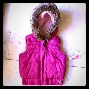 NWT Roxy Pink Puffer Vest 2T